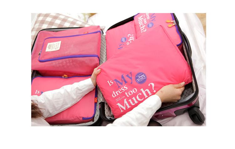 Ctp 010 Nylon Bag 5 Pcs Set Foldable Bag Toiletry Bag Nylon Zipper Travel Bag Travel