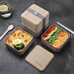 Two Tier Wooden Lid Lunch Box